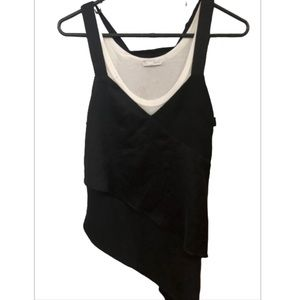 Zara Black and White Asymmetrical Layered Tank Top